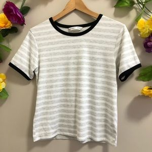 Bluenotes Gray Stripe Tee / T-Shirt w/ Black Trim